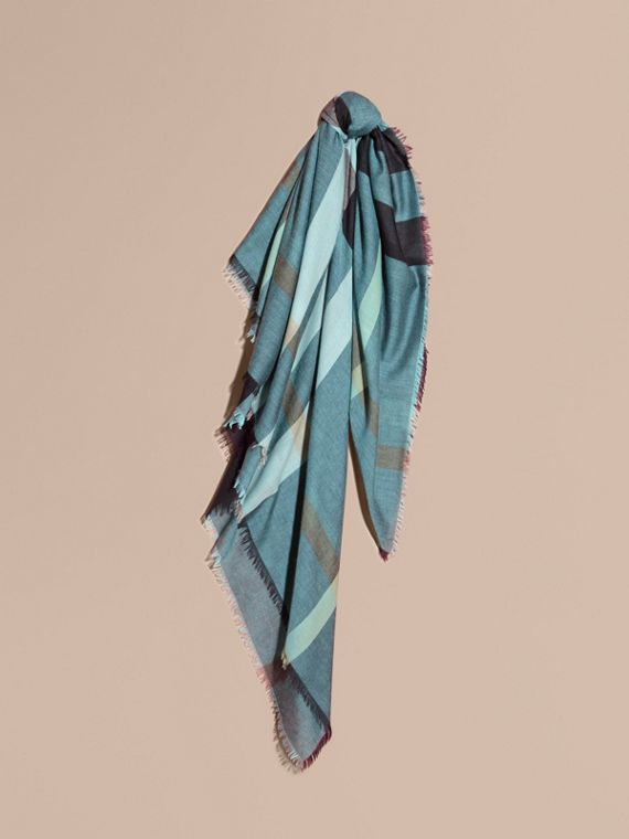 Check Modal and Wool Square Scarf in Slate Blue - Women | Burberry