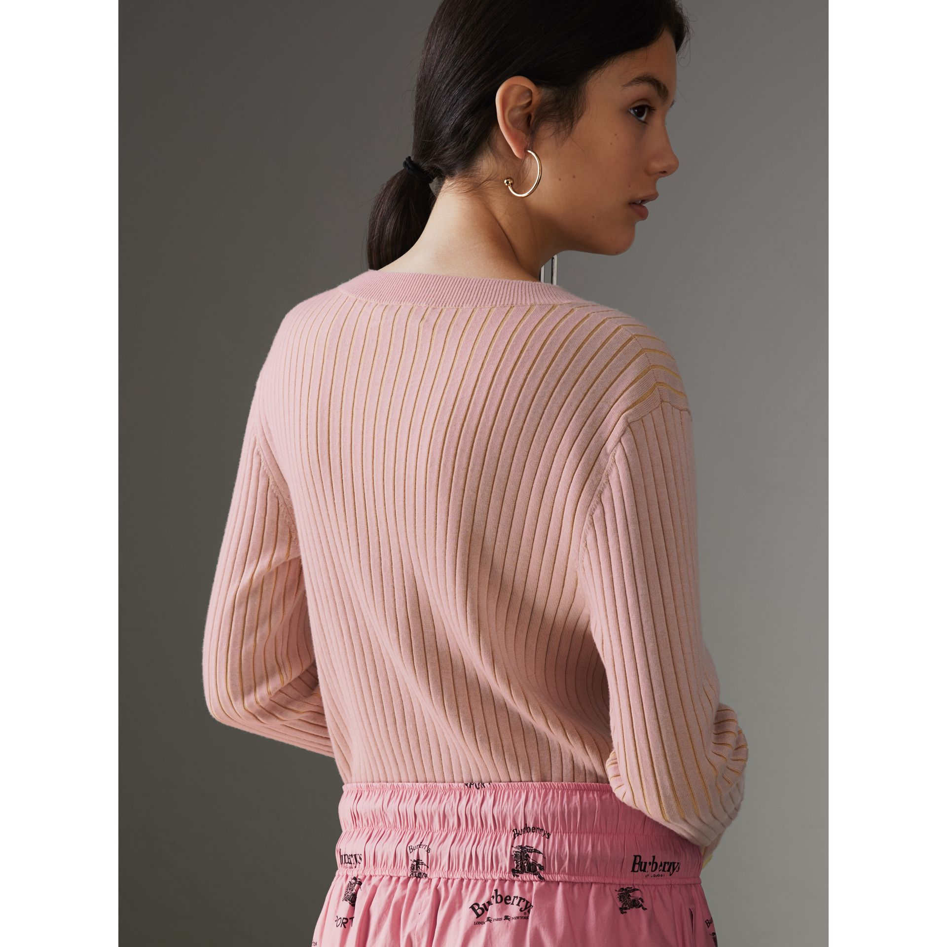 Rib Knit Cashmere Silk Sweater in Pale Pink - Women | Burberry - gallery image 2