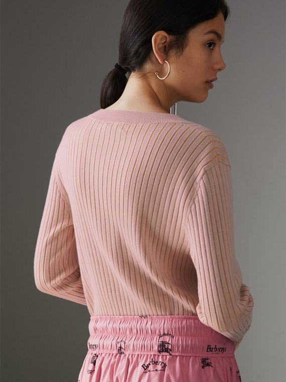 Rib Knit Cashmere Silk Sweater in Pale Pink - Women | Burberry United Kingdom - cell image 2