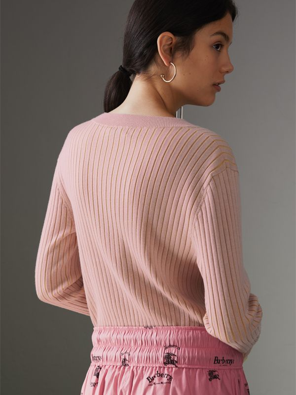 Rib Knit Cashmere Silk Sweater in Pale Pink - Women | Burberry - cell image 2