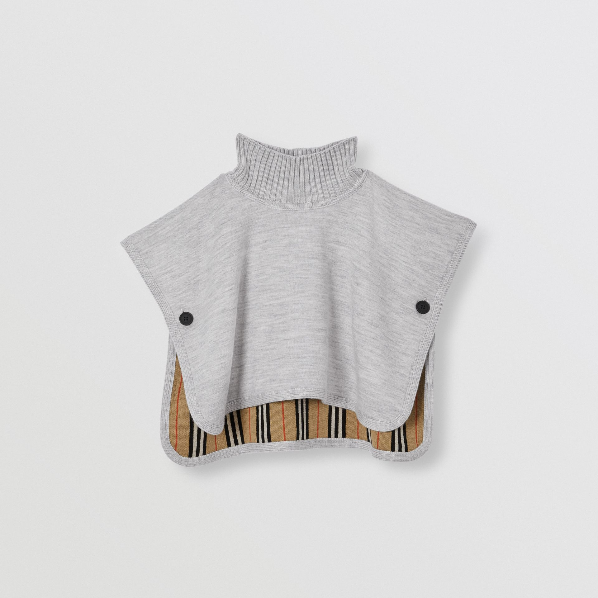Reversible Icon Stripe Merino Wool Jacquard Poncho in Archive Beige - Children | Burberry - gallery image 3