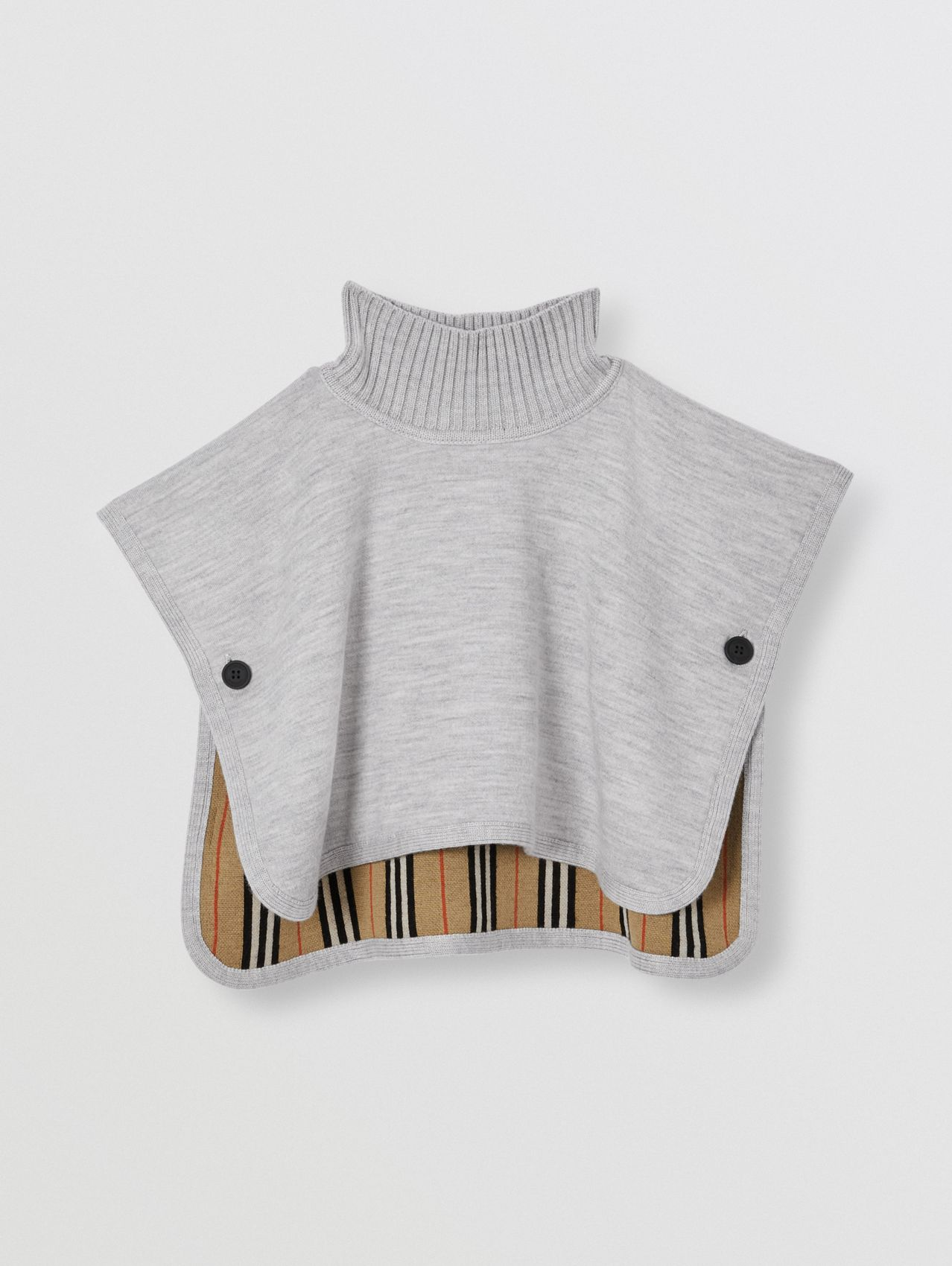 Reversible Icon Stripe Merino Wool Jacquard Poncho in Archive Beige