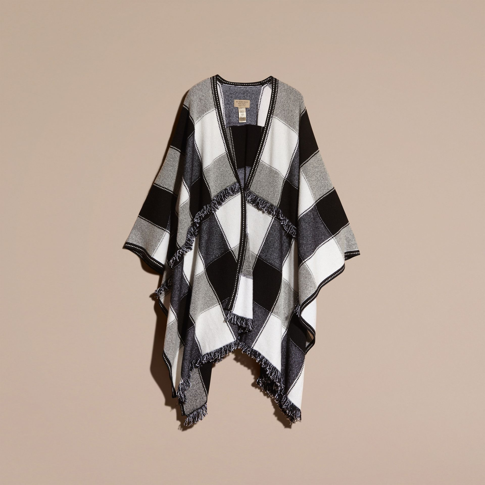 Black Check Wool Cashmere Cape with Fringing - gallery image 4