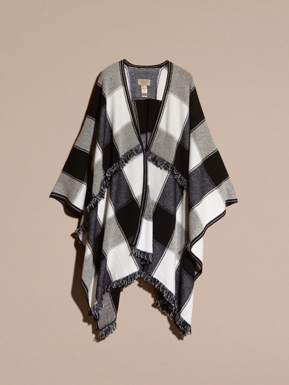 Black Check Wool Cashmere Cape with Fringing - cell image 3