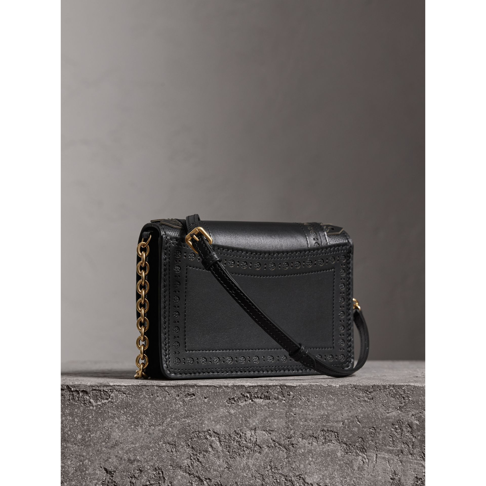 Brogue Detail Leather Wallet with Detachable Strap in Black - Women | Burberry Canada - gallery image 4