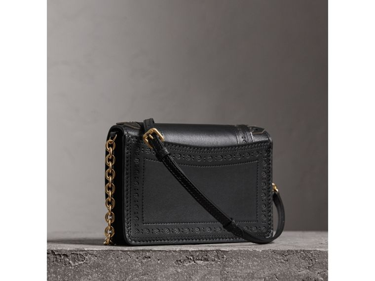 Brogue Detail Leather Wallet with Detachable Strap in Black - Women | Burberry - cell image 4