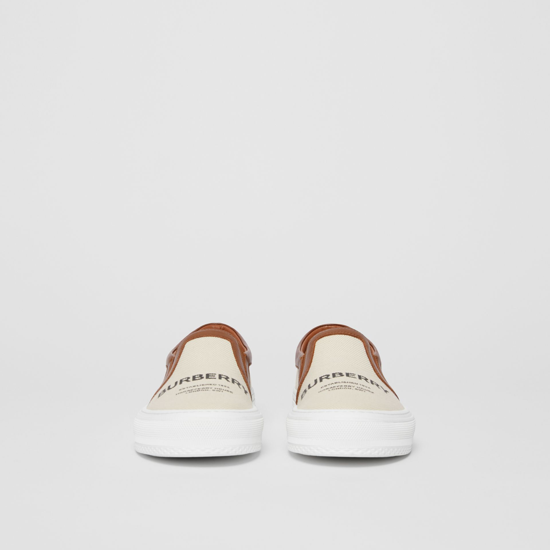 Sneakers sans lacets en coton et cuir Horseferry (Brun Malt) - Femme | Burberry - photo de la galerie 2