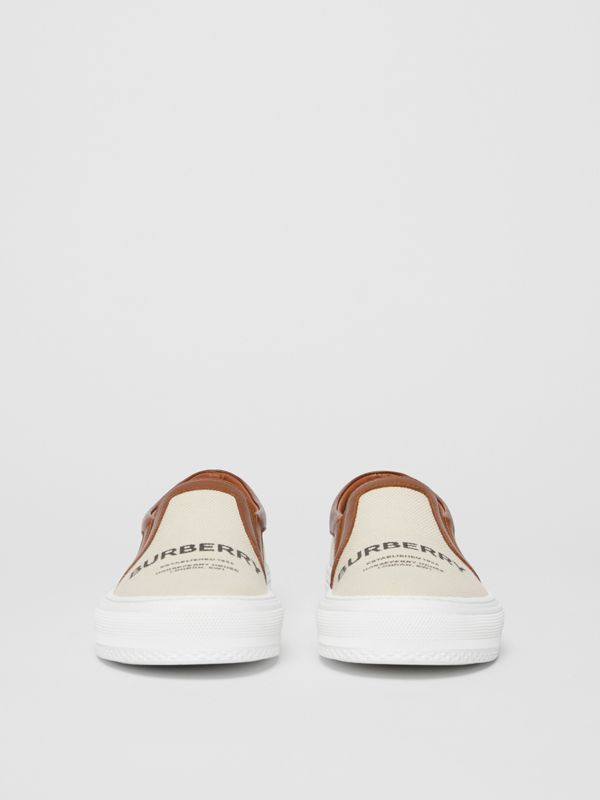 Horseferry Print Cotton and Leather Slip-on Sneakers in Malt Brown - Women | Burberry - cell image 3