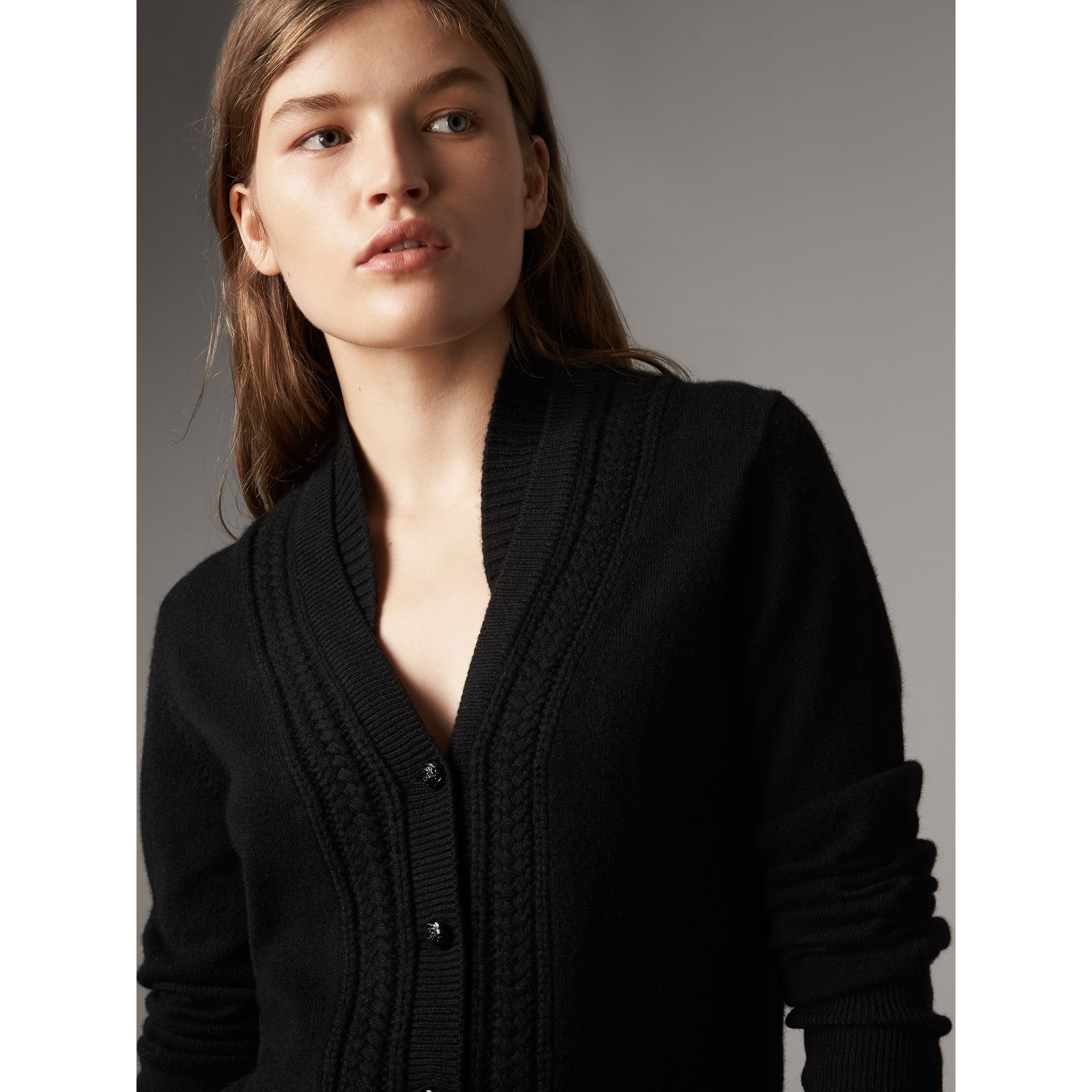 Cable Knit Detail Cashmere Cardigan in Black - Women | Burberry - gallery image 1