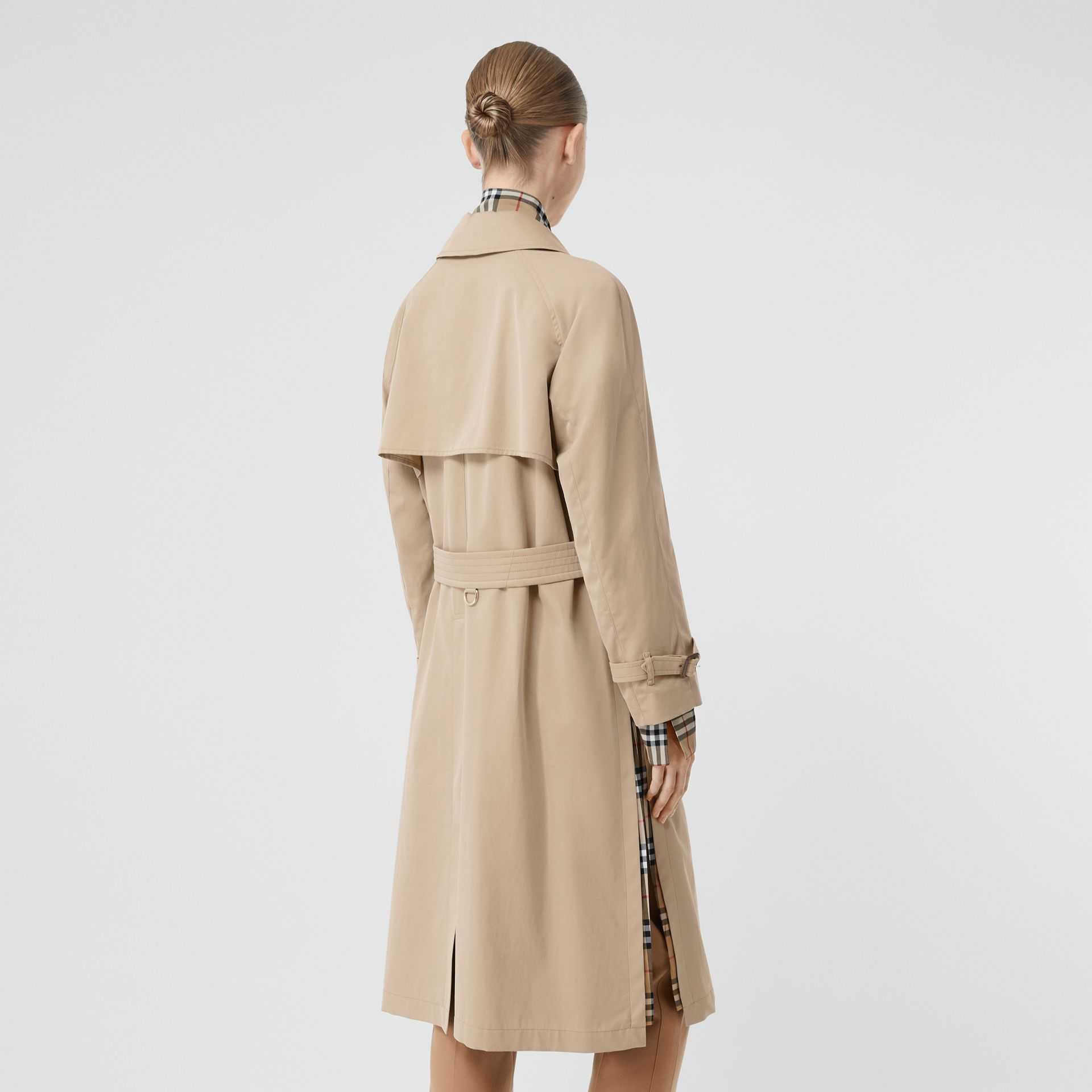 Side-slit Tropical Gabardine Trench Coat in Light Taupe - Women | Burberry United Kingdom - gallery image 2