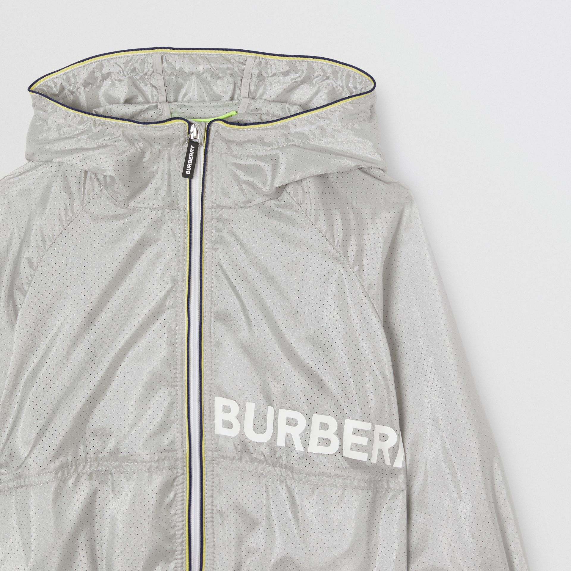 Logo Print Perforated Hooded Jacket in Silver | Burberry - gallery image 5