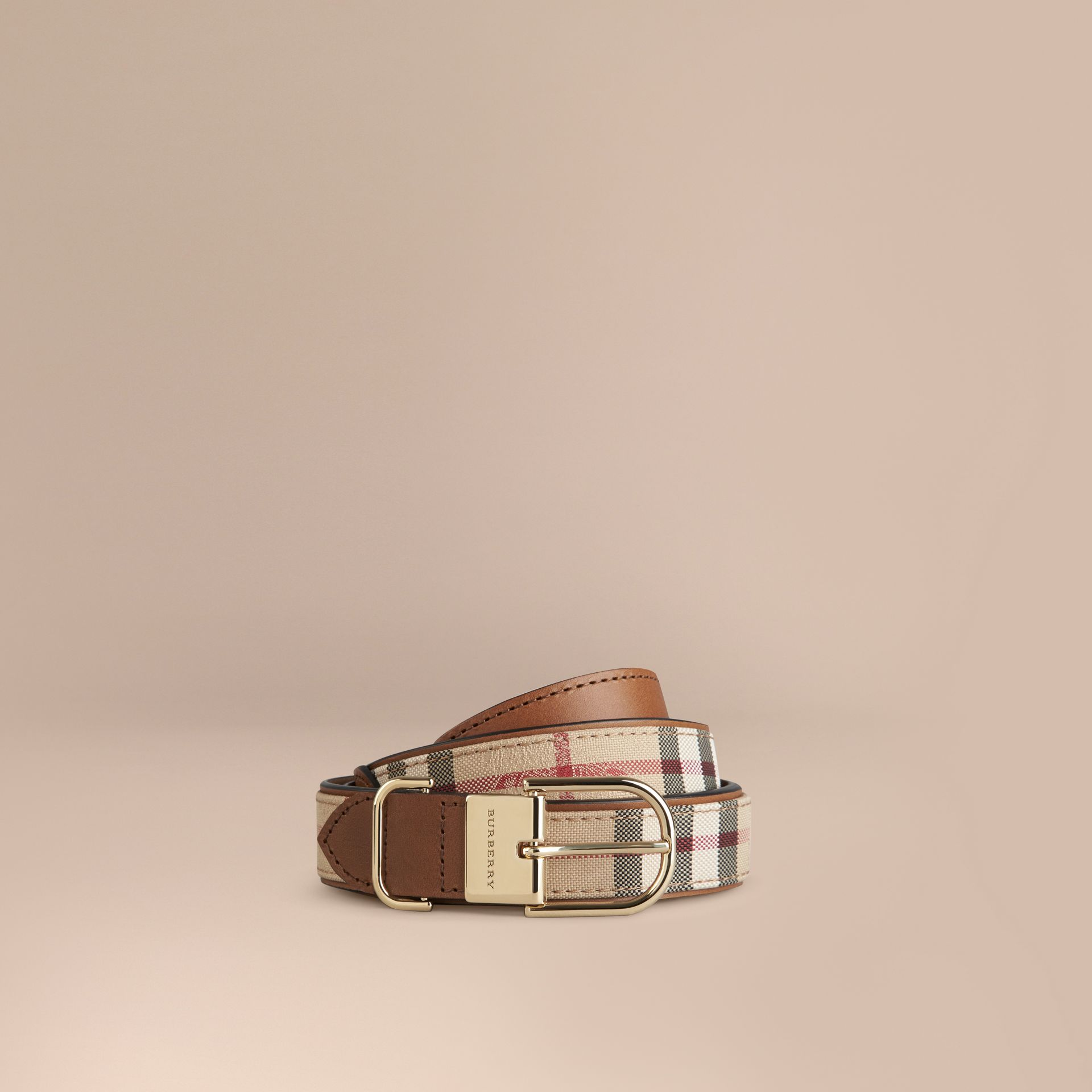 Horseferry Check and Leather Belt Honey/tan - gallery image 1