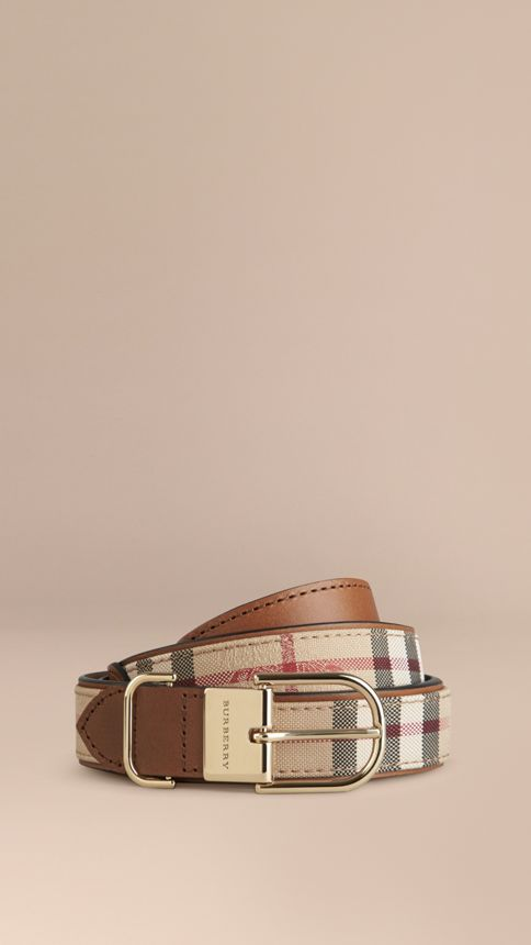 Honey/tan Horseferry Check and Leather Belt Honey/tan - Image 1