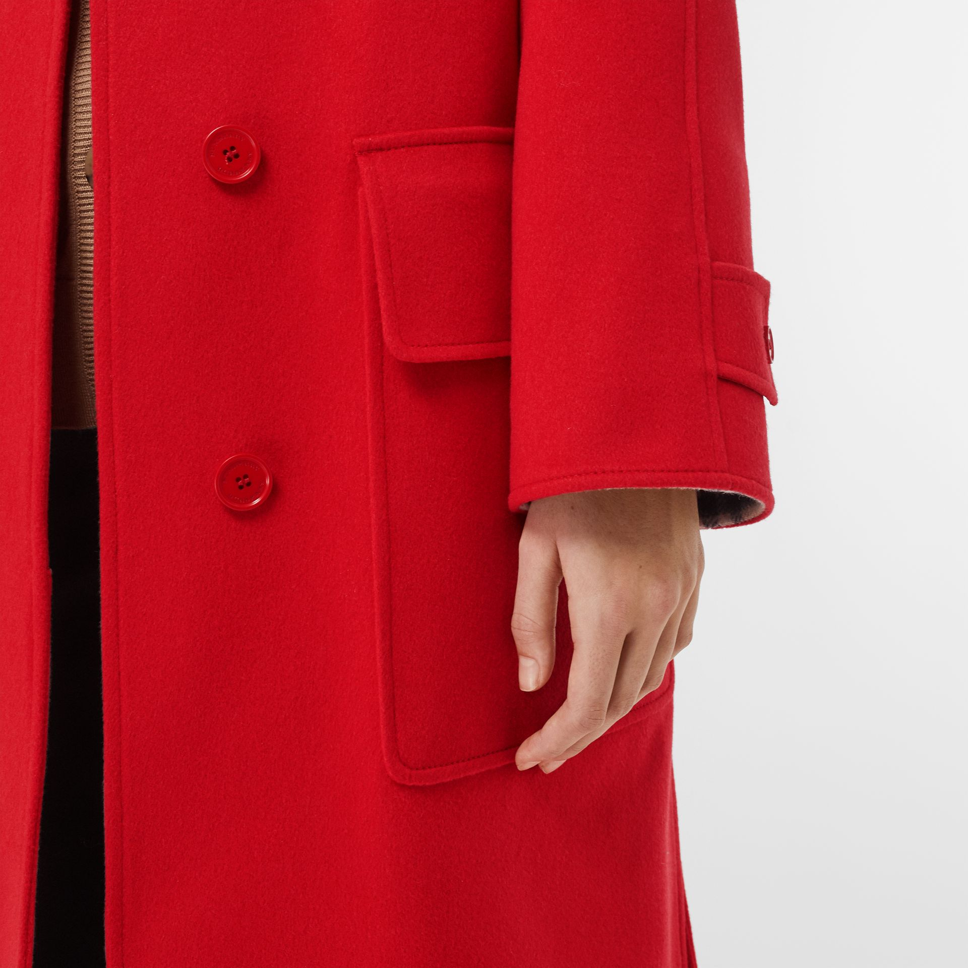 Cashmere Car Coat in Bright Red - Women | Burberry United Kingdom - gallery image 4