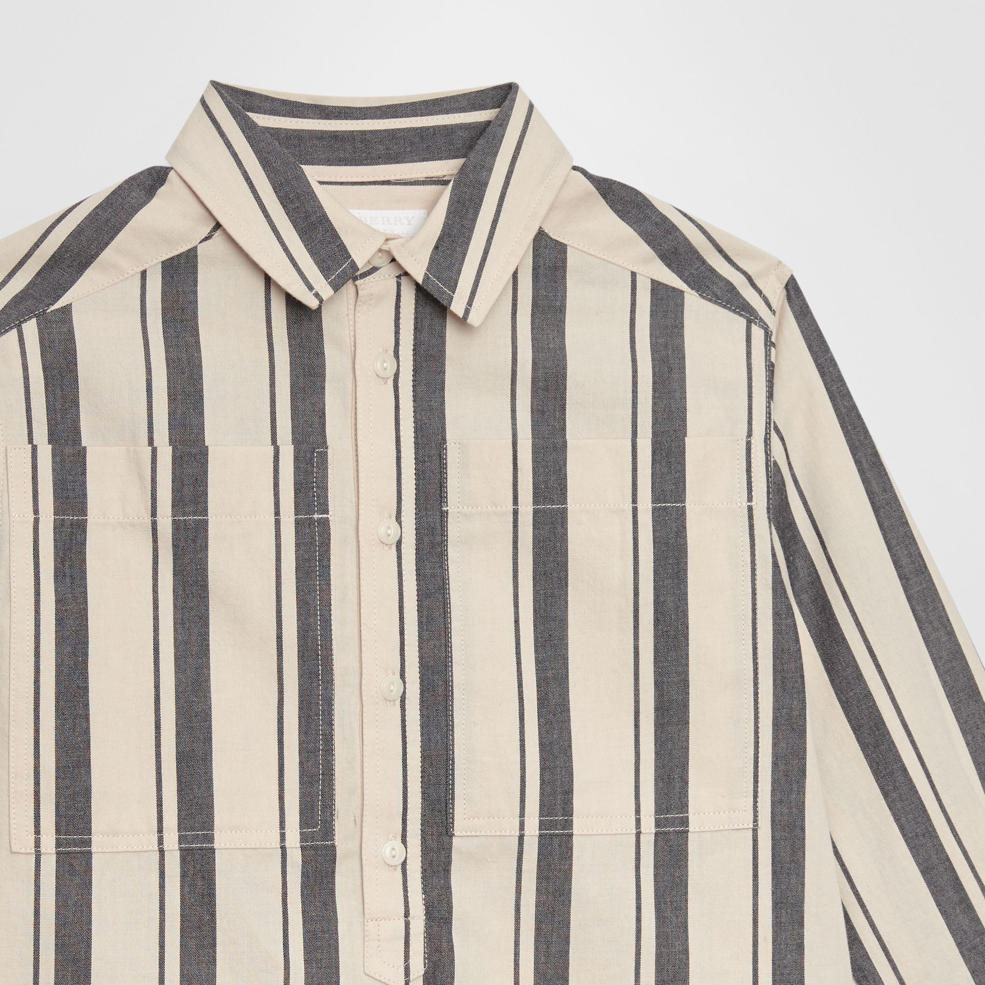 Striped Cotton Wool Shirt in Dark Grey | Burberry - gallery image 4