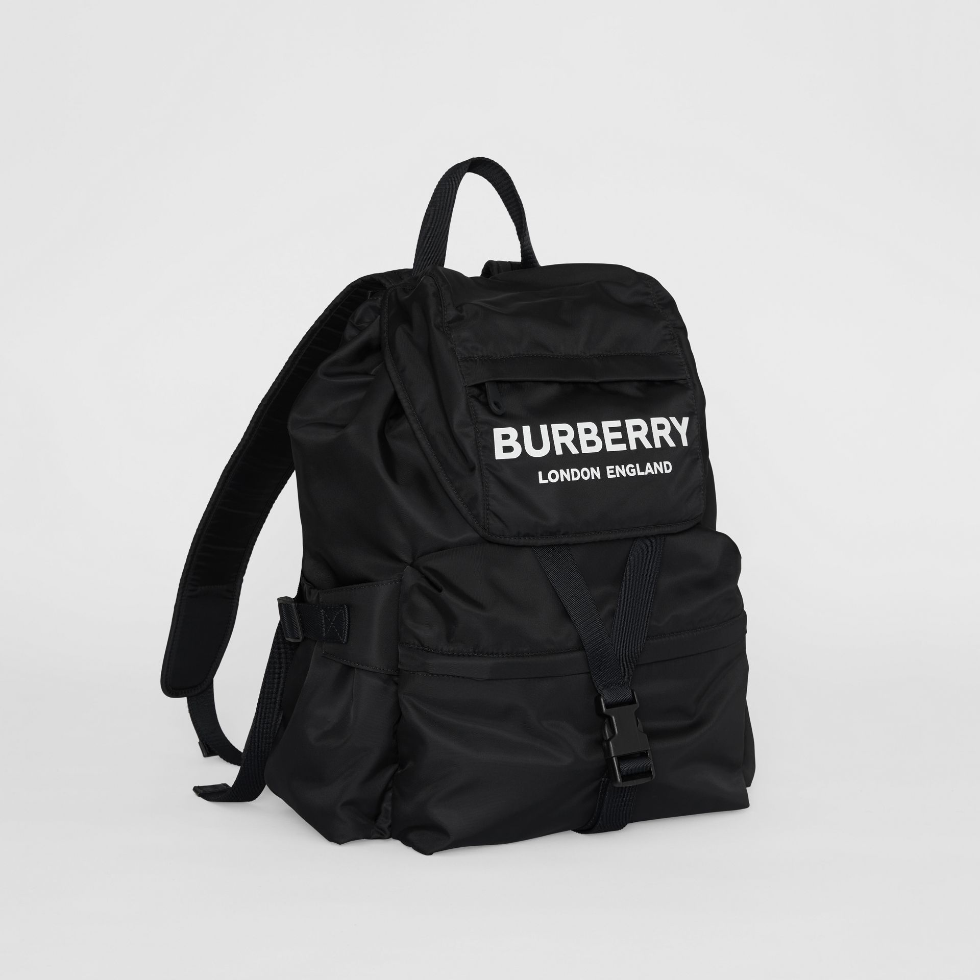 Logo Print Nylon Backpack in Black - Women | Burberry Australia - gallery image 4