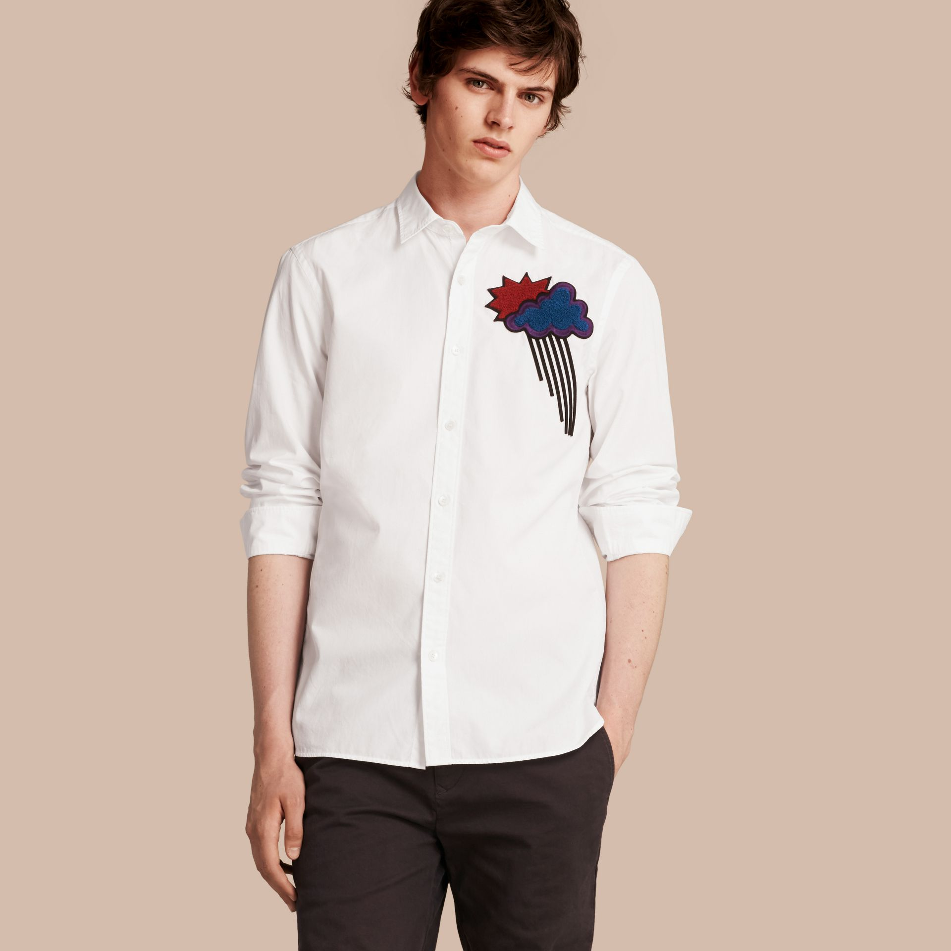 White Weather Appliqué Cotton Poplin Shirt - gallery image 1