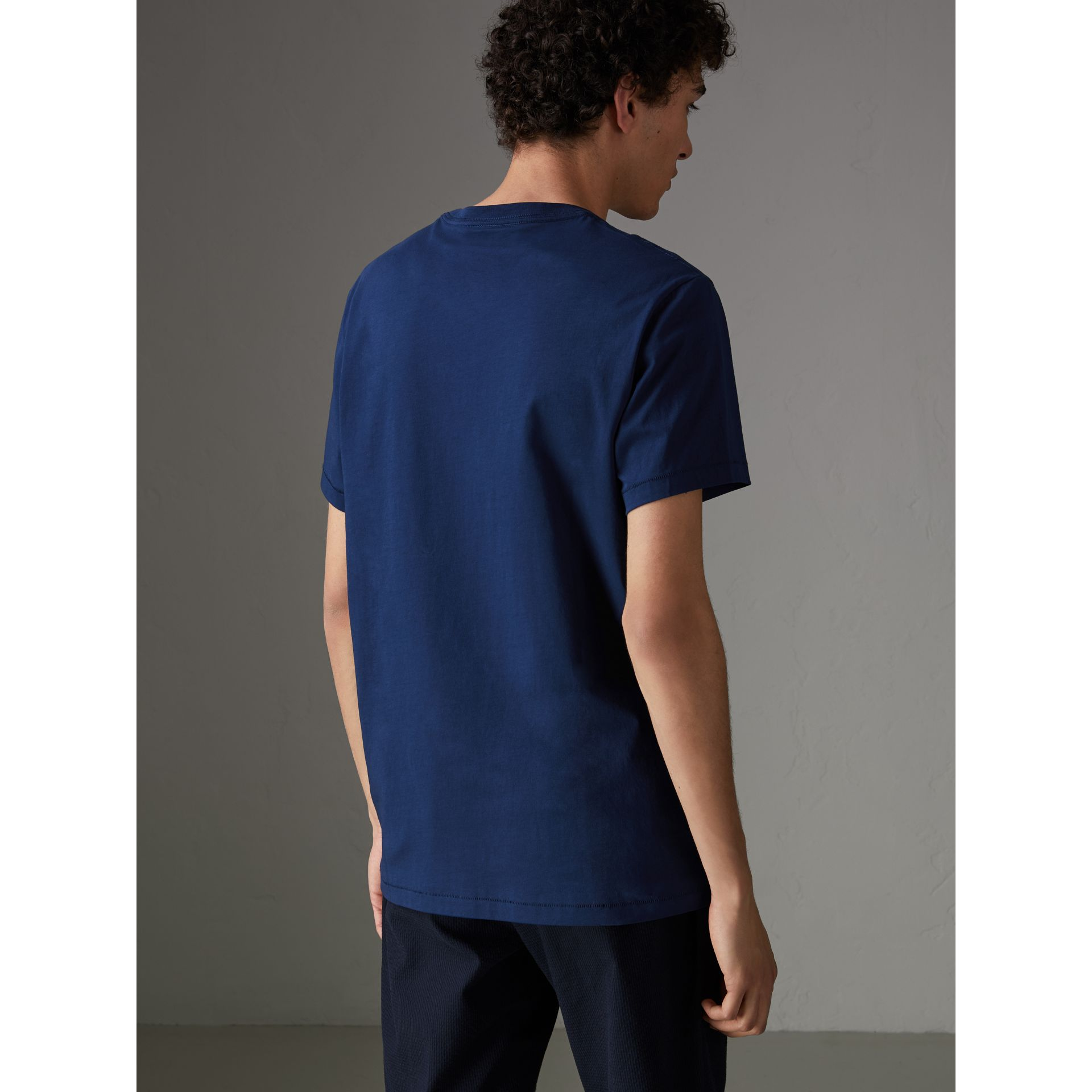 Cotton Jersey T-shirt in Bright Navy - Men | Burberry - gallery image 2