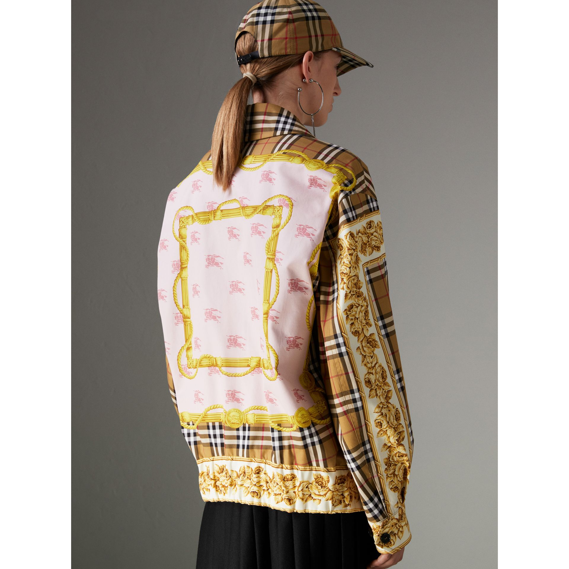 Reversible Archive Scarf Print Harrington Jacket in Antique Yellow - Women | Burberry United Kingdom - gallery image 2