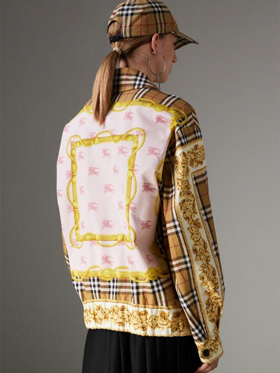 Reversible Archive Scarf Print Harrington Jacket in Antique Yellow - Women | Burberry United Kingdom - cell image 2