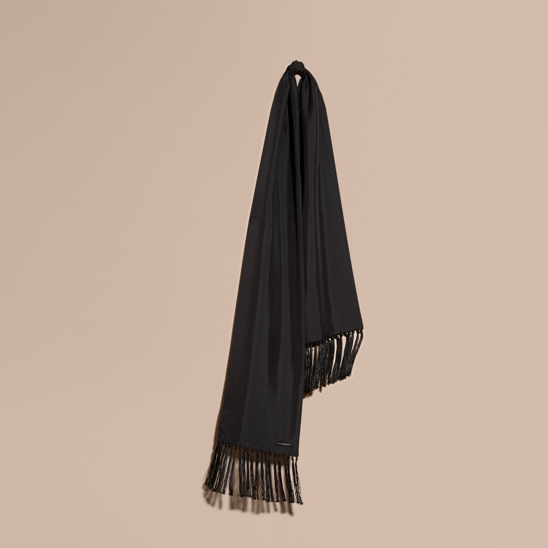 Tasselled Silk Scarf Black - gallery image 1