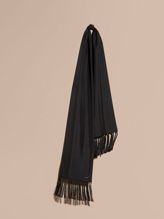 Tasselled Silk Scarf in Black
