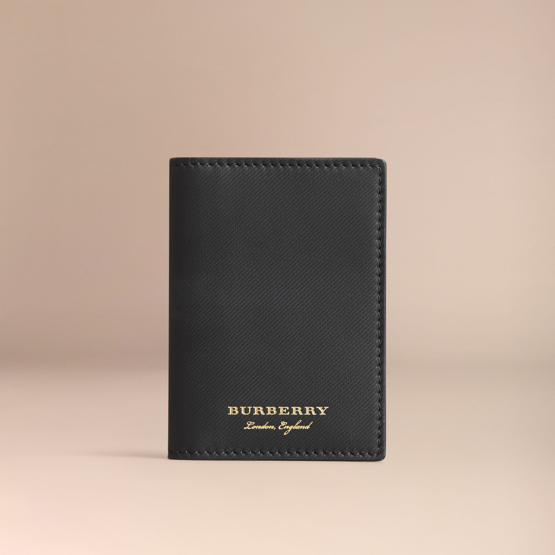Trench Leather Folding Card Case in Black - Men | Burberry - gallery image 5
