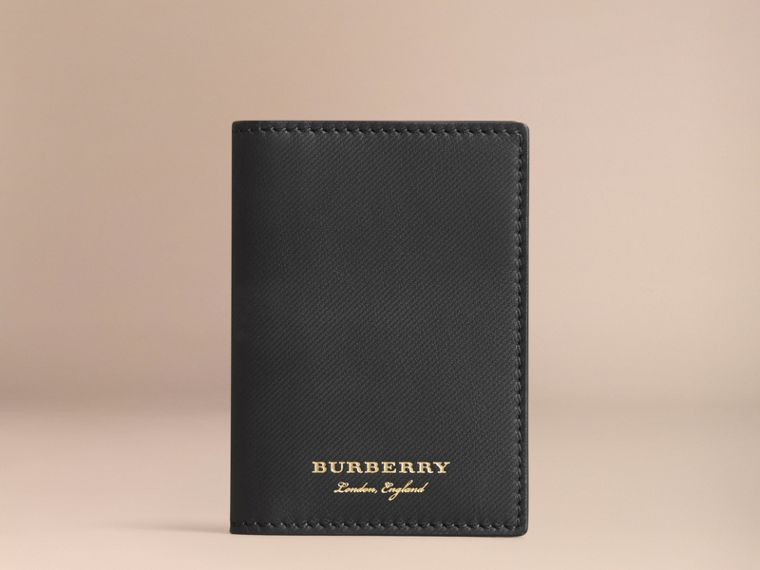 Trench Leather Folding Card Case in Black - Men | Burberry - cell image 4