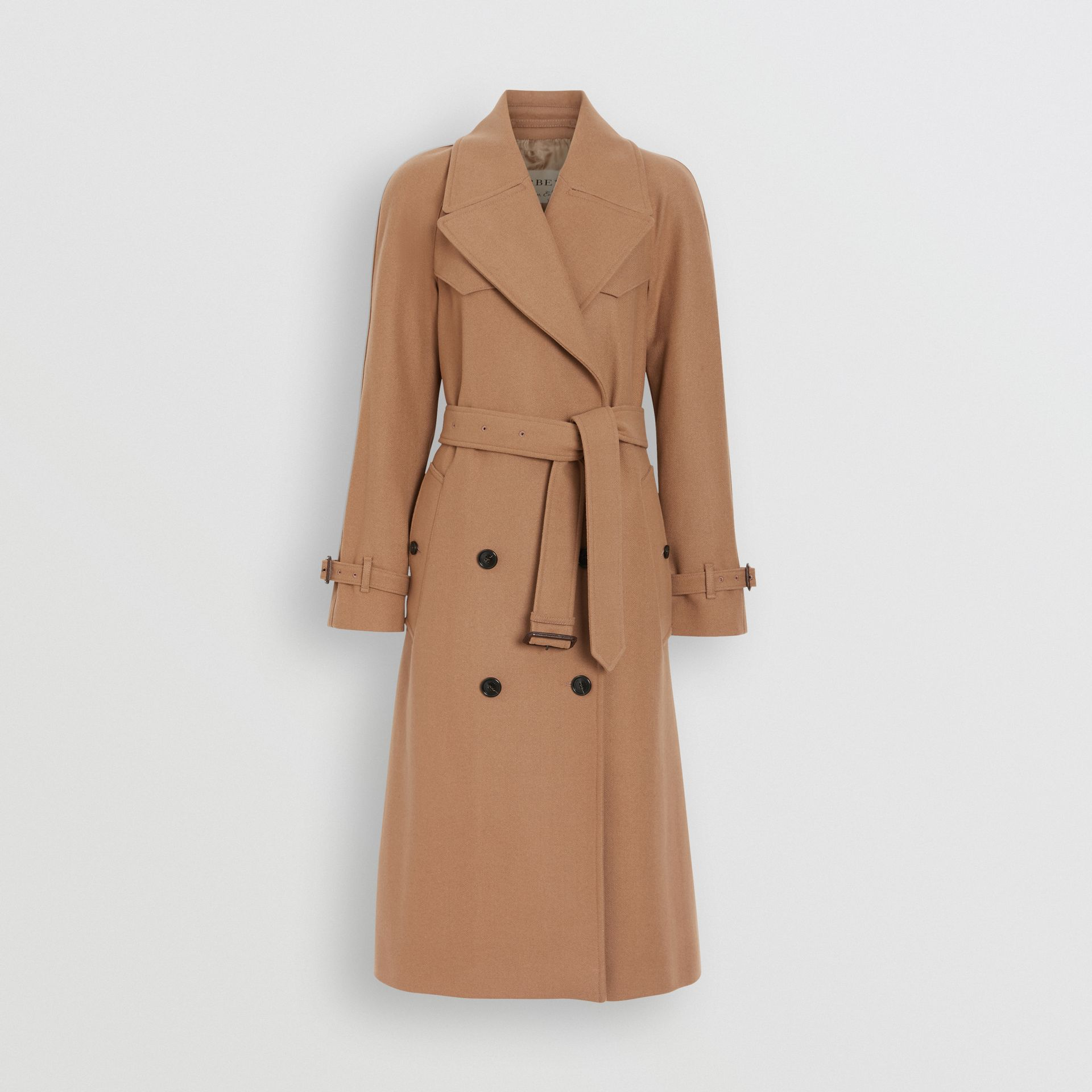 Trench coat de lã e cashmere em trama espinha de peixe (Camel) - Mulheres | Burberry - galeria de imagens 3