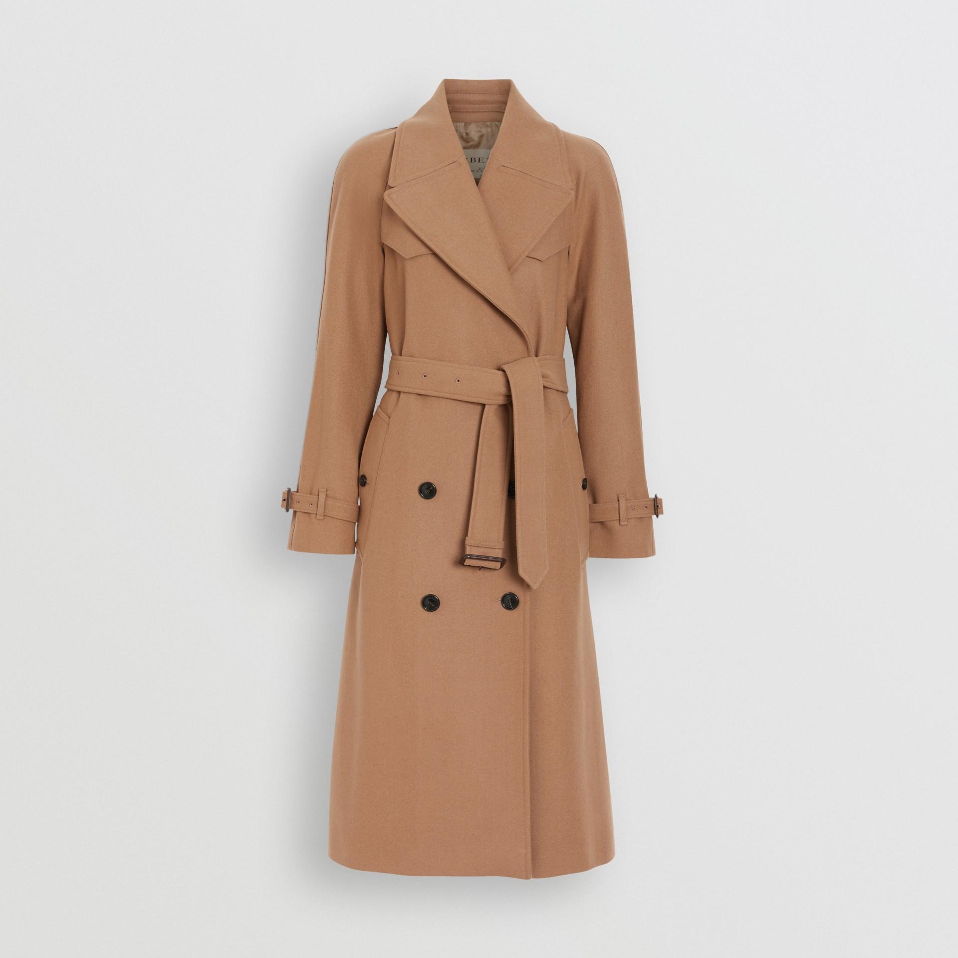Herringbone Wool Cashmere Blend Trench Coat in Camel - Women | Burberry Australia - gallery image 3
