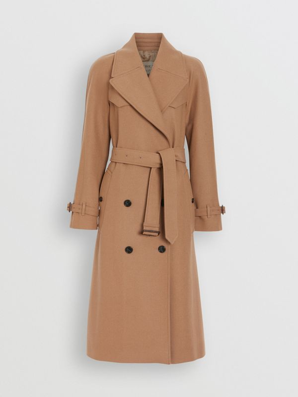 Herringbone Wool Cashmere Blend Trench Coat in Camel - Women | Burberry Singapore - cell image 3