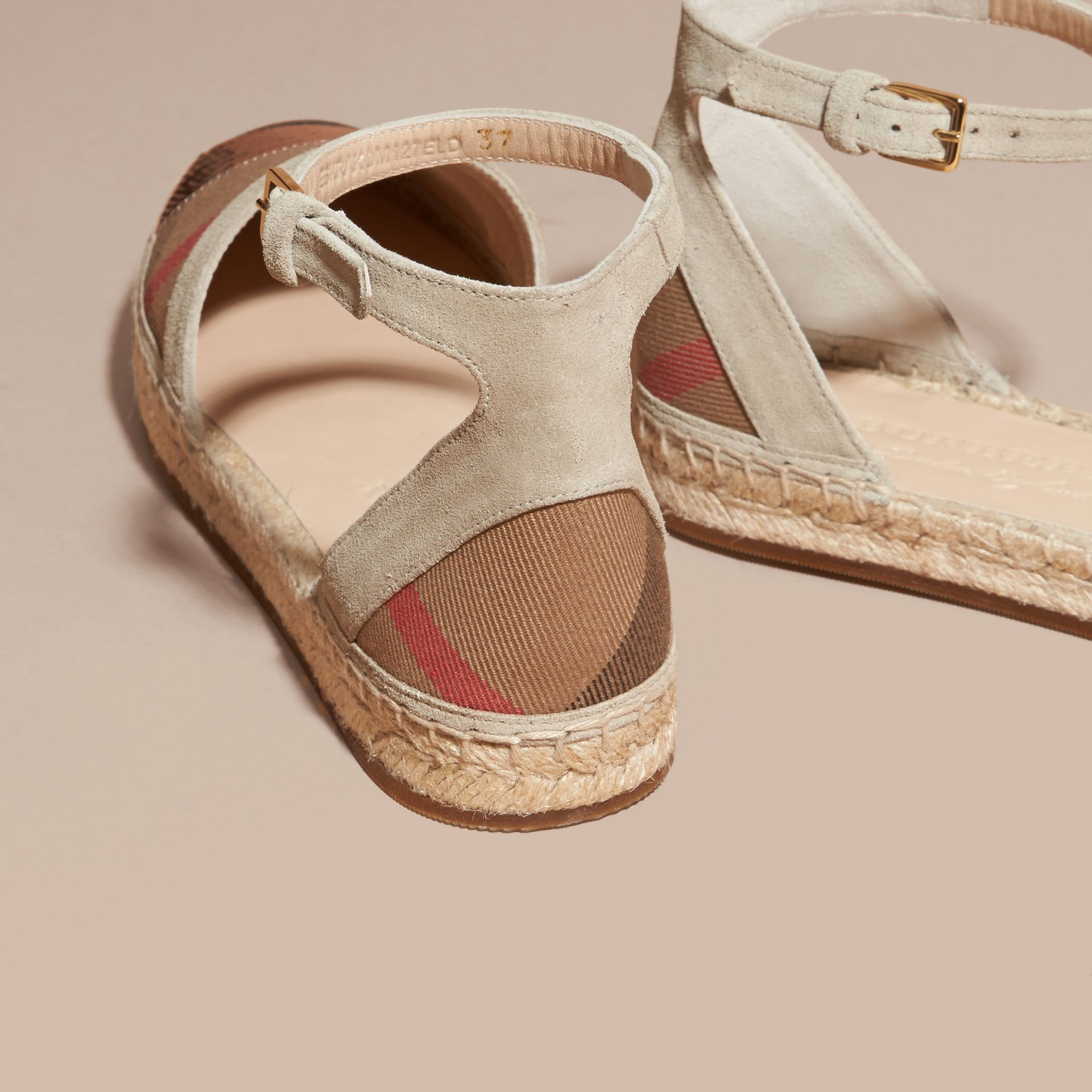 House check/pale pink Sequinned Leather and House Check Espadrille Sandals Check/pale Pink - gallery image 4