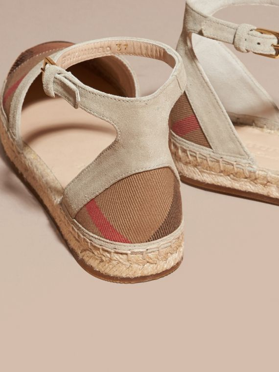 House check/pale pink Sequinned Leather and House Check Espadrille Sandals Check/pale Pink - cell image 3
