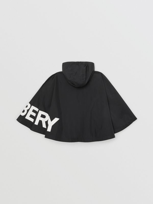 Logo Print Hooded Cape in Black | Burberry - cell image 3