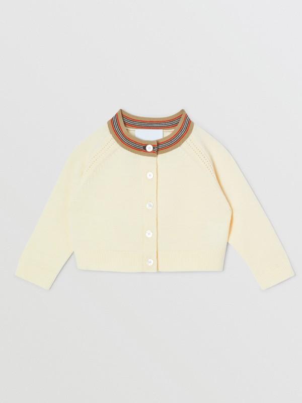 Coffret cadeau deux pièces pour bébé en laine mérinos à rayures iconiques (Ivoire) - Enfant | Burberry - cell image 2