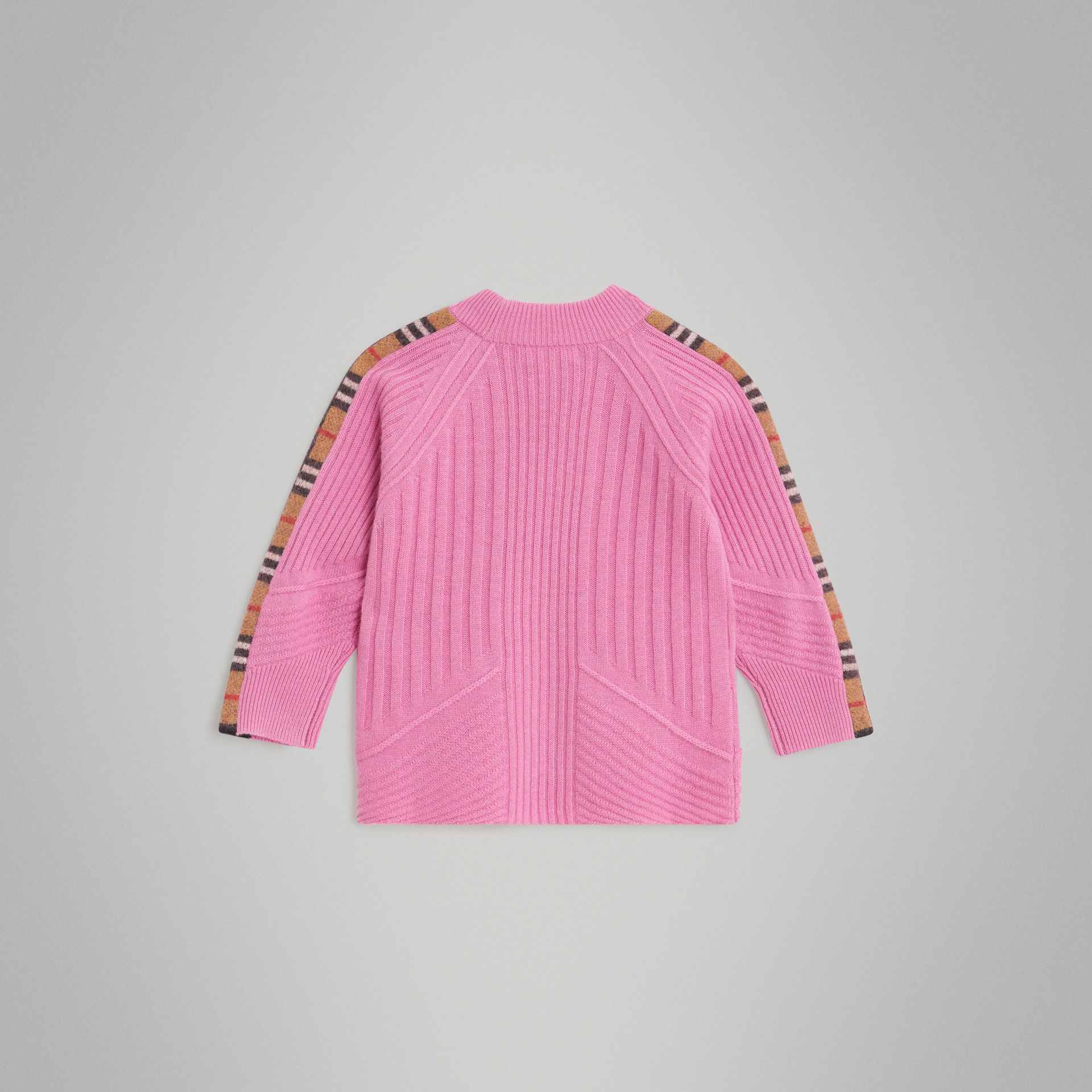 Check Detail Wool Cashmere Sweater in Rose Pink | Burberry - gallery image 3