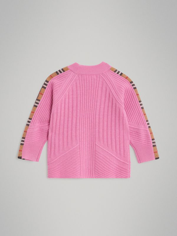 Check Detail Wool Cashmere Sweater in Rose Pink | Burberry - cell image 3