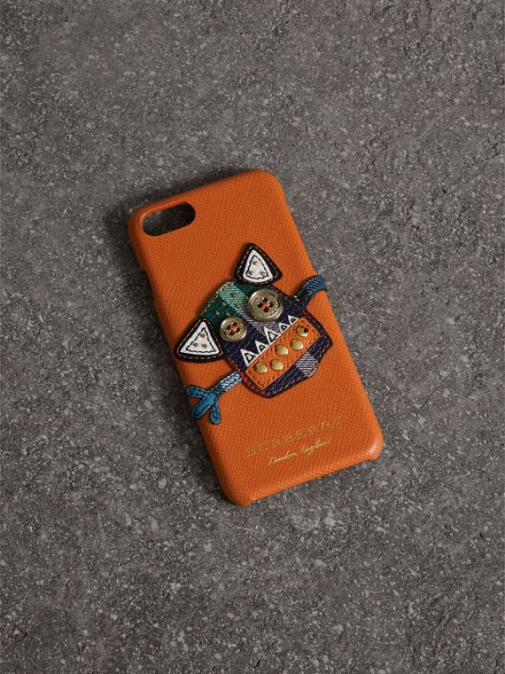 Custodia per iPhone 7 in pelle con simpatica creatura (Clementina)