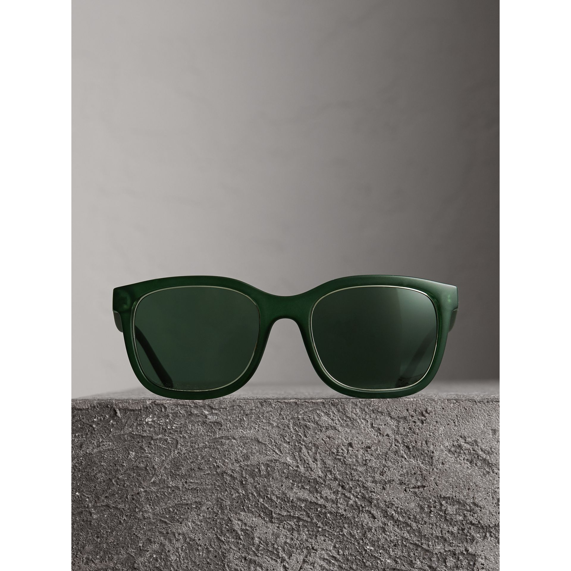 Embossed Check Detail Square Frame Sunglasses in Smokey Green - Men | Burberry Australia - gallery image 3