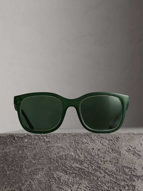 Embossed Check Detail Square Frame Sunglasses in Smokey Green - Men | Burberry - cell image 3