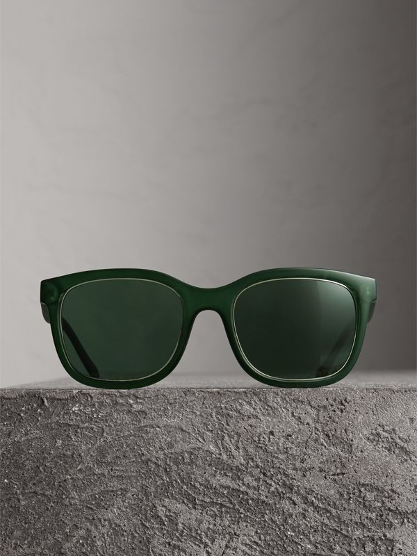 Embossed Check Detail Square Frame Sunglasses in Smokey Green - Men | Burberry Australia - cell image 3