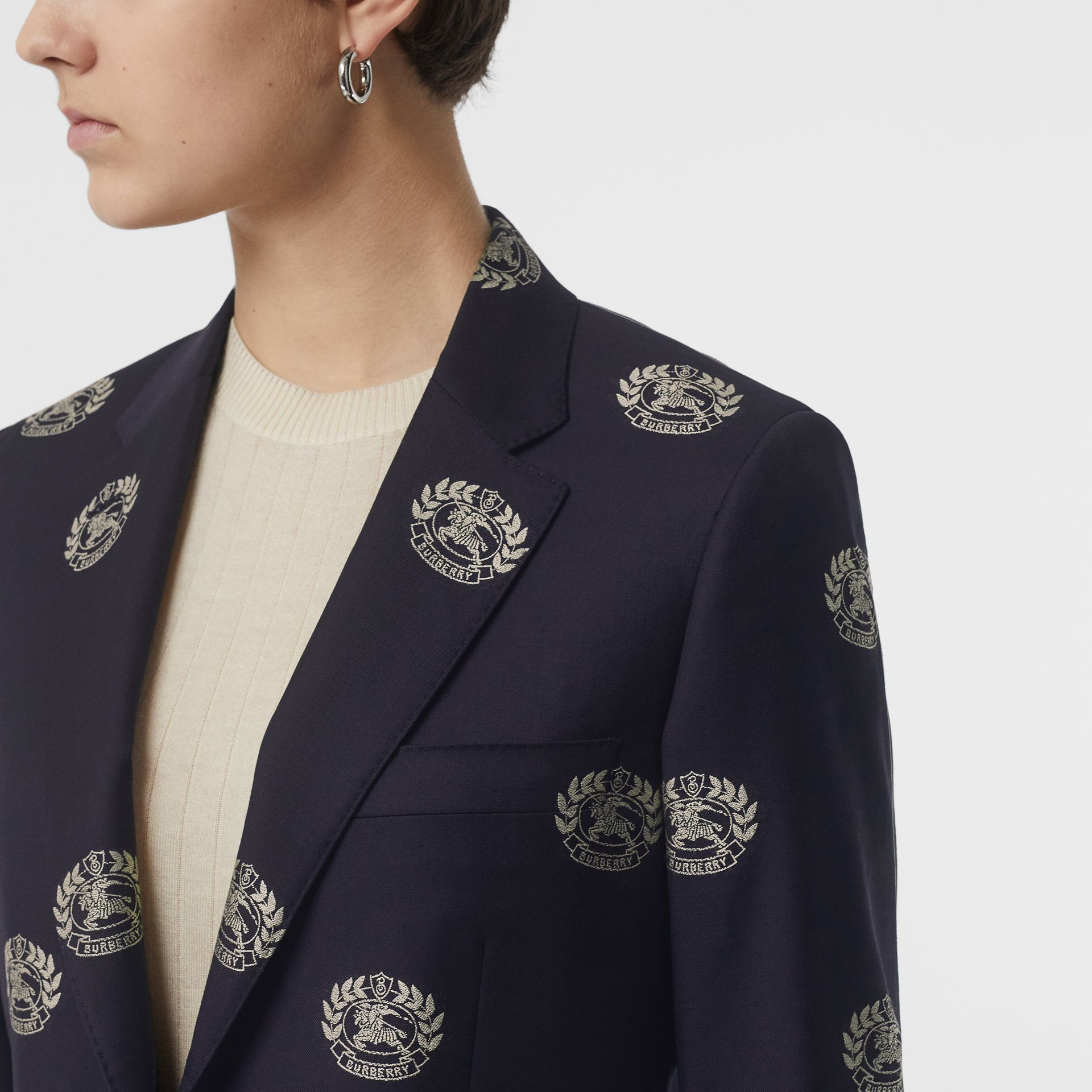 Fil Coupé Crest Wool Tailored Jacket in Midnight Blue - Women | Burberry - gallery image 1