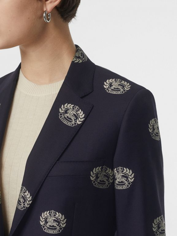 Fil Coupé Crest Wool Tailored Jacket in Midnight Blue - Women | Burberry - cell image 1