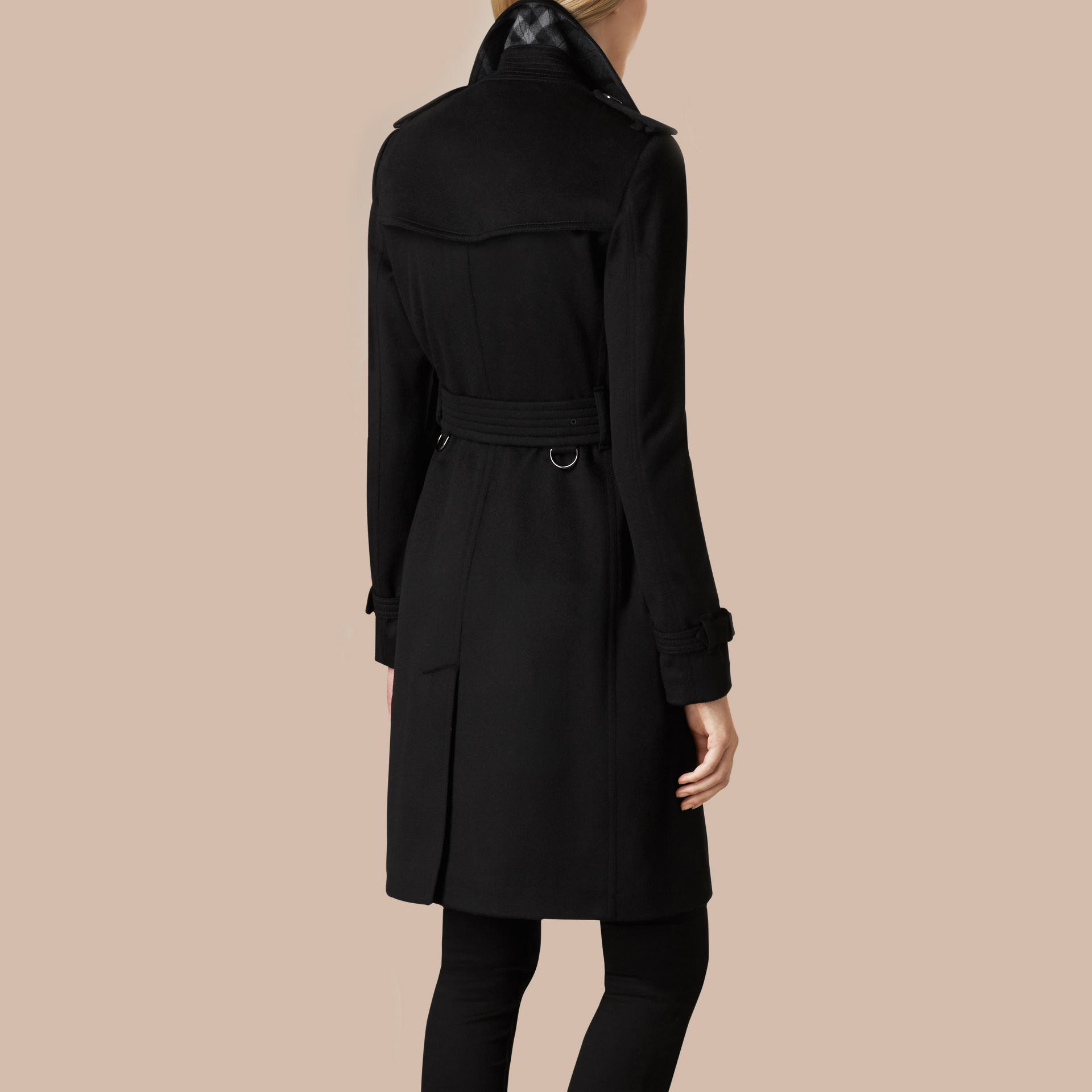Nero Trench coat Kensington in cashmere Nero - immagine della galleria 4