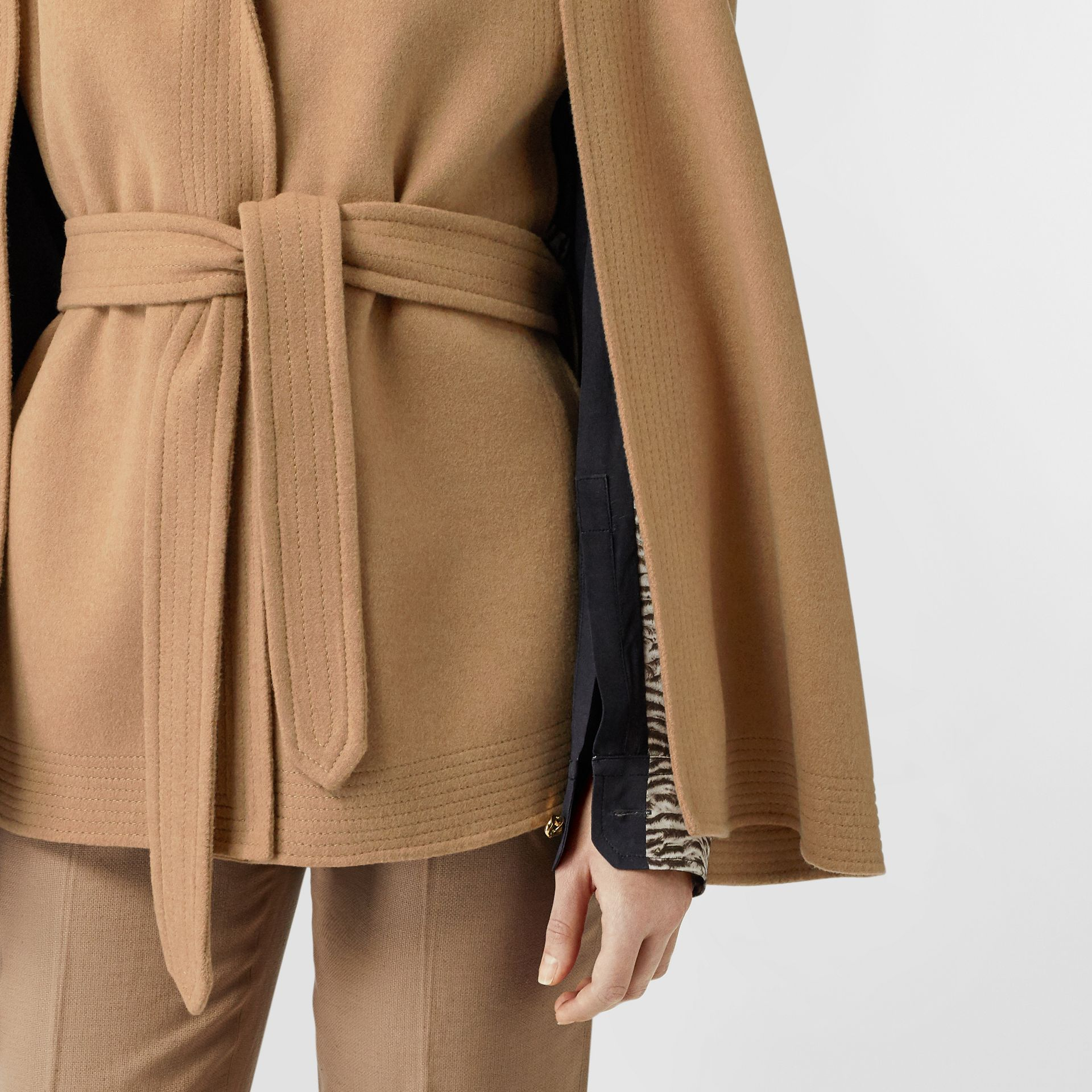Double-faced Camel Hair Belted Cape - Women | Burberry - gallery image 4
