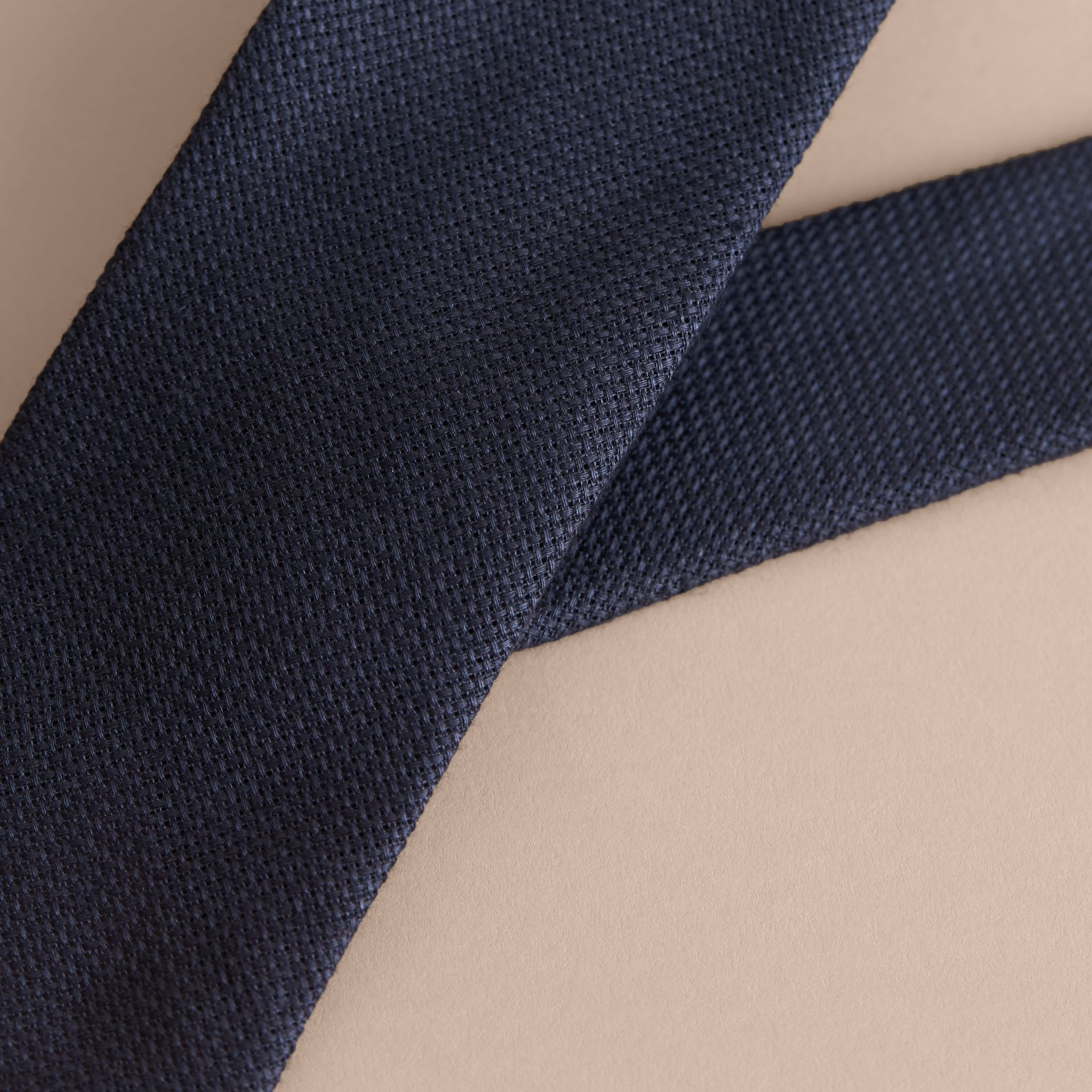 Modern Cut Linen Tie in Navy - Men | Burberry - gallery image 2