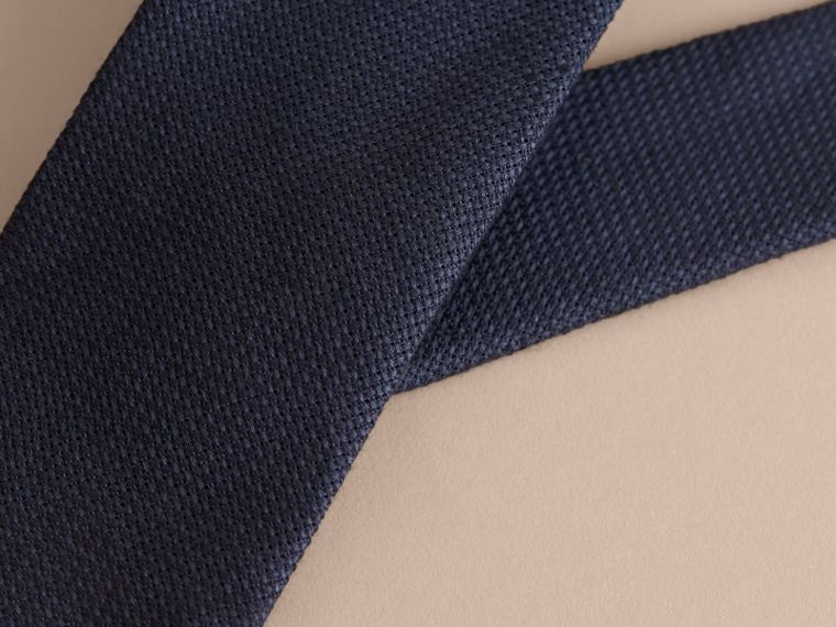 Modern Cut Linen Tie in Navy - Men | Burberry - cell image 1