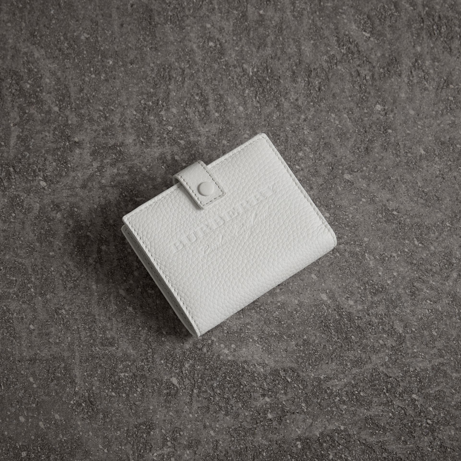 Embossed Leather Folding Wallet in Chalk White - Women | Burberry - gallery image 0