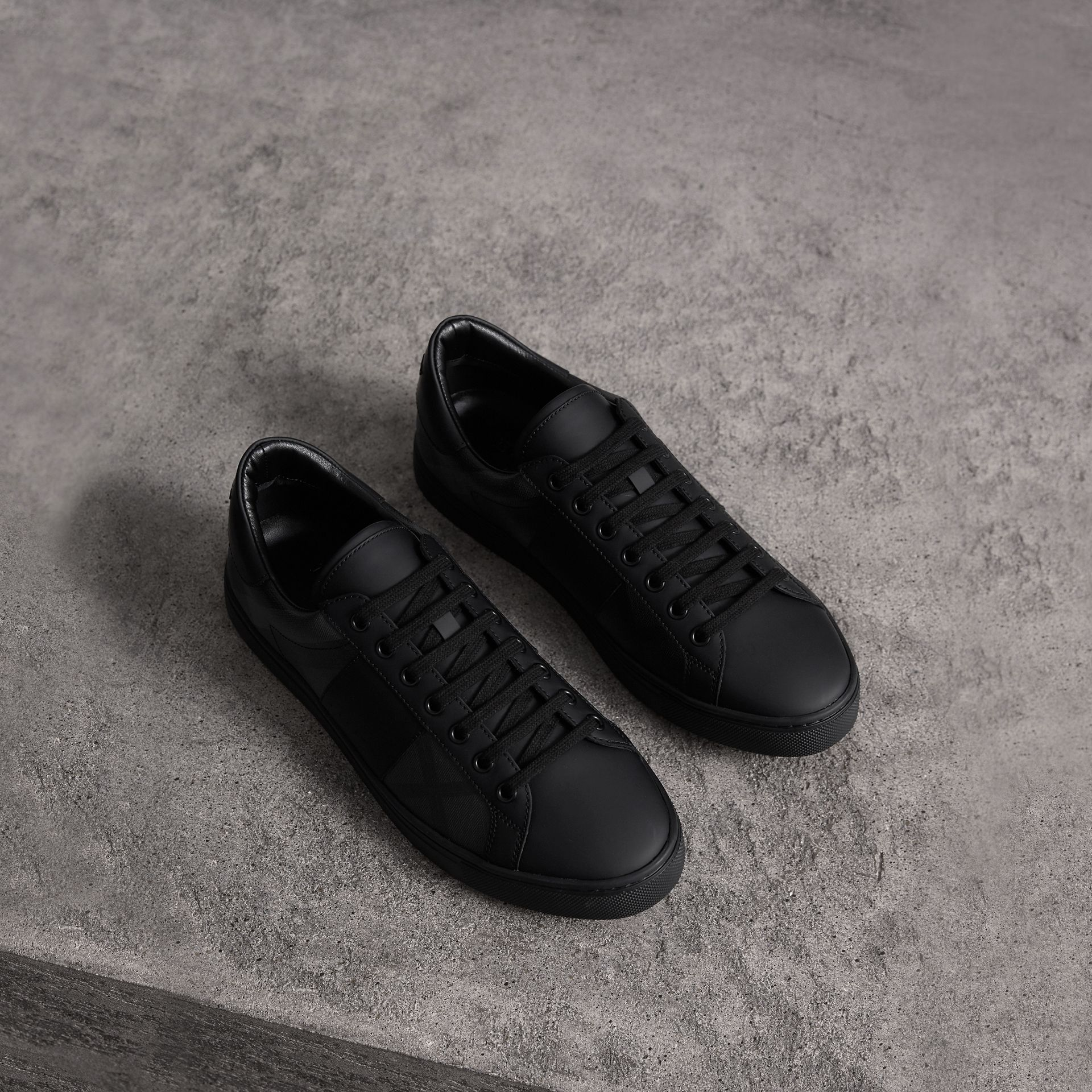 London Check and Leather Sneakers in Charcoal - Men | Burberry Canada - gallery image 0