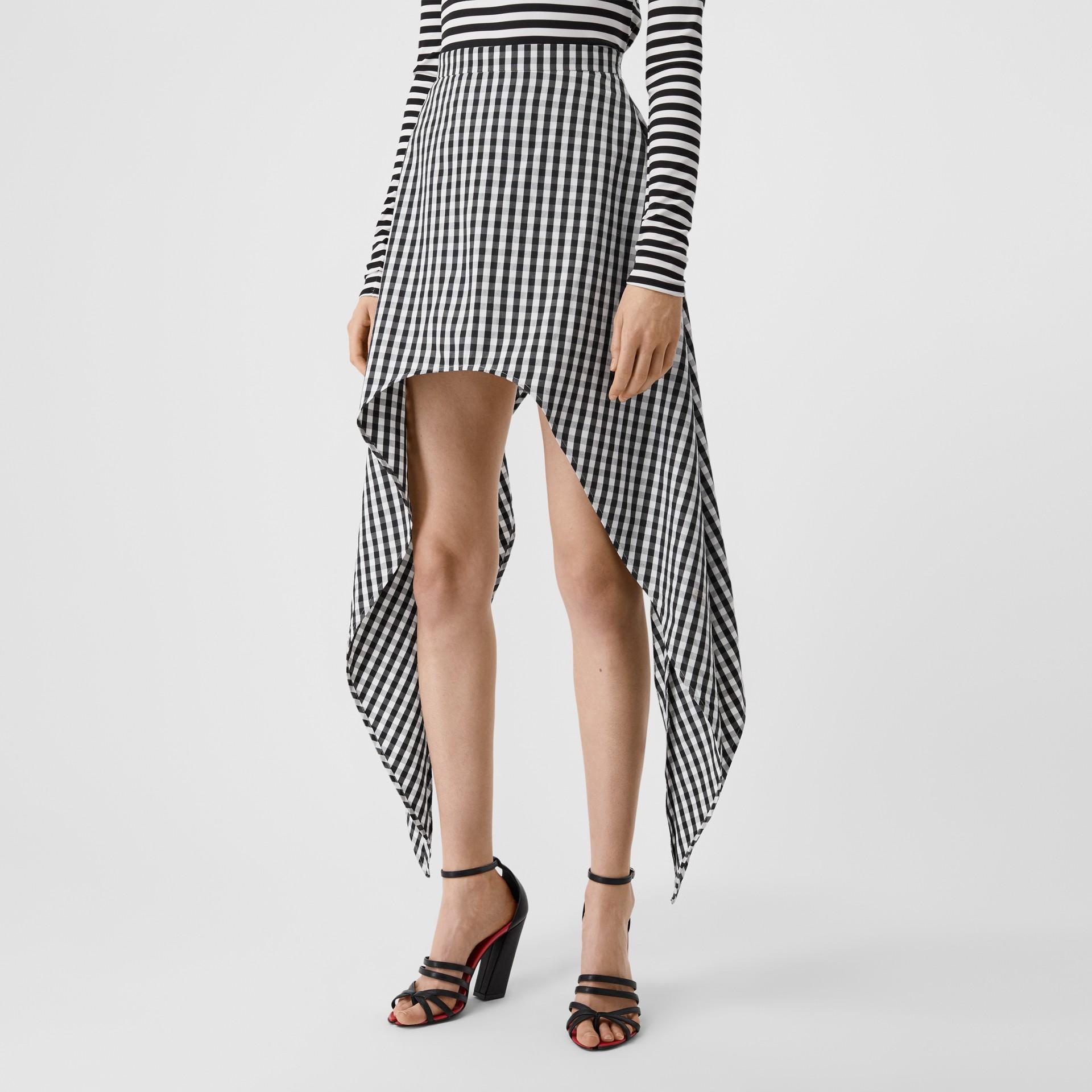 Scarf-tie Detail Gingham Technical Wool Mini Skirt in Black - Women | Burberry - gallery image 1